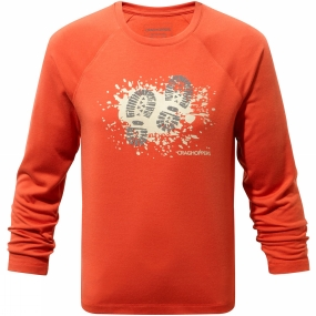 Craghoppers Craghoppers Boys Mimir Long Sleeve Graphic Tee Vermillion Orange