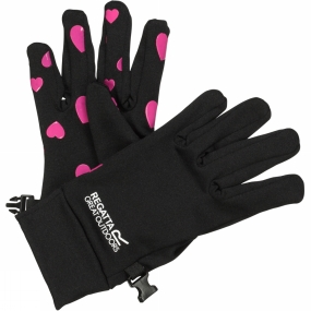Regatta Kids Grippy Gloves Black/Vivid Viola