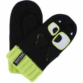 Regatta Kids Animally Mitts II Black/Lime Zest