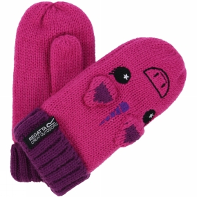 Regatta Kids Animally Mitts II Extreme Pink/Winberry