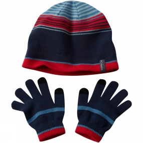 Columbia Youths Hat And Glove Set Blue Heron