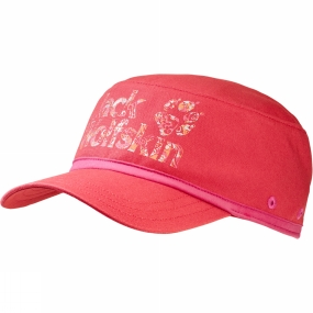 Jack Wolfskin Girls Brand Hat Hibiscus Red