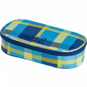 Jack Wolfskin Kids Triangle Box Pencil Case Blue Woven Check