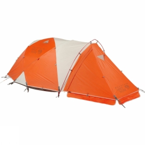 Mountain Hardwear The four-person version of the legendary Trango expedition tent.Using a geodesic architecture - in which the poles cross over each other to brace against wind from all directions - the Trango 4 is a supremely tough tent. At the guying points, the flysheet, inner and poles are connected together, so the guys are not simply joined to one element of the tent: a simple way to achieve maximum stability.The waterproof fabrics are joined using fully taped seams and a bathtub style groundsheet, so the weather really has no chance of getting in. When only a simple shelter is required though, the fly and poles - together with the optional extra footprint - can be put up on their own in Pitch Light mode.