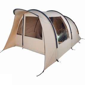 Eureka The Eureka Stony Pass 4 BTC Tent is a family weekend tent with an all-in-one pitching system and fully sewn-in floor to make it very quick and easy to pitch. The main sleeping room can accomodate up to four people and can be easily converted into two rooms with the divider curtain. Two large side windows allow plenty of light into the standing-height living area and let you enjoy the view when the weather forces you to close the doors. The front side of the tents is covered by an integrated canopy, which allows you to keep the door open in light rain and provides extra shade from the sun.Eureka