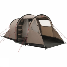 Robens Based on the always popular and reliable tunnel design, the Robens Midnight Dreamer Tent uses the Power Stability Frame design with a wedged porch to offer excellent stability for families and groups out in the elements.It is highly versatile giving an option of entrances and bedroom set ups while offering generous space to ensure you have space to move around. The large windows let the light pour in throughout the day but the black-out inner tent helps to keep the bedrooms a little darker to offer a longer lie in in the mornings. Storm-guard guylines help to offer more strength to the Power Stability Frame in stormy conditions making this an excellent option for those seeking comfortable space who may be subject to particularly bad weather.