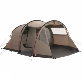 Robens Based on the always popular and reliable tunnel design, the Robens Double Dreamer Tent uses the Power Stability Frame design with a wedged porch to offer excellent stability for families and groups out in the elements.It is highly versatile giving an option of entrances and bedroom set ups while offering generous space to ensure you have space to move around. The large windows let the light pour in throughout the day but the black-out inner tent helps to keep the bedrooms a little darker to offer a longer lie in in the mornings. Storm-guard guylines help to offer more strength to the Power Stability Frame in stormy conditions making this an excellent option for those seeking comfortable space who may be subject to particularly bad weather.