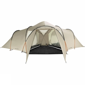 Vaude Proving to be a very popular model the Badawi Long has two independent three- person compartments. The extended porch increases the already spacious (225cm high) living and dining area.