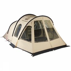 Eureka The Eureka Vision Compact BTC RS Tent is a classic three-pole tunnel tent equipped with six huge ArmaTech ClearVu windows that fill the living area with light and allow you to enjoy family camping even when the weather turns nasty. The high poles over the standing-height living area provide 210 centimetres of headroom to give the tent a spacious feel. The sleeping area accomodates four people and a zip-in divider lets you easily separate it into two rooms if desired. A front sleeping area is available separately that can sleep a further two people, taking the total capacity of the tent to six. The strong zip-in bath tub floor protects the inside of the tent from water, dirt and bugs. The split front wall can be openned either partially or completely, depending on the conditions. Despite the size and features of this tent, it weighs less then 22 kilograms when fully packed and fits into one 68-by-45-centimetre bag. Two hooded vents in the roof and two prop vents near the floor provide extra high and low-level ventilation inside the tent.Eureka
