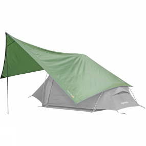 Vango The Vango Trek Tarp with Pole is a handy piece of kit that you can use as an extension to a small back packing tent. Compatible with front or side doors it is quick and easy to fit. A single pole offers height while bright guylines can be pegged out to secure and anchor down your extra shelter.