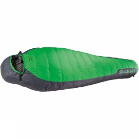 Salewa The Eco -1�C Sleeping Bag from Salewa is a recycled down sleeping bag designed for mountaineering, hiking and trekking with sustainable natural insulation technology. Recommended for environmentally conscious users, it matches sustainability with the advantages of natural down. Its 80/20 recycled down fill from used sleeping bags has a high warm-to-weight ratio and a fill power of 500 cuin which makes it well suited to temperatures down to -1�C.The recycled down is silverised to make it odour-resistant, so even on long treks it requires less frequent washing. It has a full-length, two-way zip with anti-catch flap so it can be coupled with another compatible bag, or opened up wide like a blanket. It has a contoured hood, preshaped thermo collar and foot section and a zip at the foot section for comfort. All draw strings are easy to operate with one hand, and it