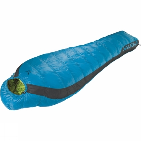 Salewa The Fusion Hybrid +4�C Sleeping Bag from Salewa has a blend of synthetic and down fill, for mountaineering, hiking and trekking in all conditions. Recommended when performance in both dry and wet conditions is a priority, the special fill is a 50/50 blend which combines the advantages of 90/10 duck down with PrimaLoft synthetic insulation.This results in a fill power of 650 cuin and a temperature rating of +4�C which dries four times faster than natural down and keeps 94% of its insulation capability even when wet. It has a full-length, two-way zip with anti-catch flap so it can be coupled with another compatible bag, or opened up wide like a blanket.It has a contoured hood, preshaped thermo collar and foot section and a zip at the foot section for comfort. All draw strings are easy to operate with one hand, and it