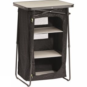 Outwell The Canefield Cupboard from Outwell is a sturdy shelf unit that is ideal for keeping a little more organised on longer camping trips. It folds down to a small pack size for easy carrying and portability but can be erected in a matter of minutes. A small zipped door on the front hides away the contents while the ventilated mesh back allows excellent air flow.