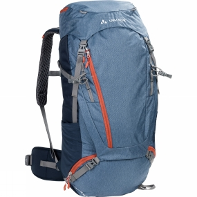 Vaude From hut to hut: The Asymmetric 52+8 Rucksack is for alpine multi-day hikes, pilgrimages and backpacking. The body contact back ensures a stable, comfortable fit. The Tergolight suspension system has an integrated frame which ensures an excellent load transfer and good stability. The suspension system, load positioning, and women
