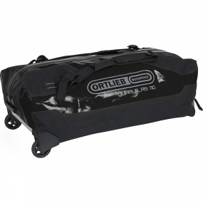 Ortlieb The OutDoor INDUSTRY AWARD 2014 winner Duffle RS with wheels combines the high standards with regards to travelling comfort with the extreme demands of an expedition bag. ORTLIEB developed a heavy duty wheel system adapted for tough conditions. The 90 mm wheels are connected to the bag in a watertight manner and render high clearance for off-road and outdoor use.Instead of employing a telescopic system, Duffle RS features-for increased durability and low weight-an adjustable handle. Thanks to a foam-reinforced base the bag is extremely stable even when fully loaded. A long waterproof Tizip zipper protects your gear from rain and dirt while allowing quick access to its contents. For security, an integrated wire loop serves for locking and securing the bag with a padlock (lock not included).The perfect volume weight ratio of the Duffle RS makes this product the ideal choice for trips by plane. And when not in use, it can be nicely rolled up and stowed away.