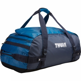 Thule With a wide mouth opening and removable backpack straps the Chasm 70L Duffel Bag is a practical as well as rugged and weather resistant gear hauler for any adventure.Further details:Easy access to contents through oversized, wide mouth openingCan be carried in two different ways: as a backpack and as a duffel (all straps tuck away when not in use)Protects contents from the elements and folds for easy storage due to the durable and waterproof tarpaulin fabricKeeps gear organized and contained with internal mesh pocketsEasy to prevent contents from falling to the bottom of the bag in backpack mode thanks to external compression strapsPadded bottom protects your gear from the groundLockable, zipped side pocket keeps small items secure and within reach (lock sold separately)Quick access to smaller items through external stash pocket