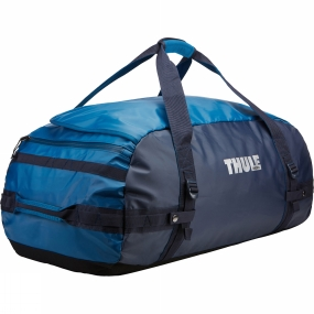 Thule With a wide mouth opening and removable backpack straps the Chasm 90L Duffel Bag is a practical as well as rugged and weather resistant gear hauler for any adventure.Further details:Easy access to contents through oversized, wide mouth openingCan be carried in two different ways: as a backpack and as a duffel (all straps tuck away when not in use)Protects contents from the elements and folds for easy storage due to the durable and waterproof tarpaulin fabricKeeps gear organized and contained with internal mesh pocketsEasy to prevent contents from falling to the bottom of the bag in backpack mode thanks to external compression strapsPadded bottom protects your gear from the groundLockable, zipped side pocket keeps small items secure and within reach (lock sold separately)Quick access to smaller items through external stash pocket