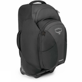 Osprey Meet your complete travel package. The Meridian 75L Travel Pack can be carried like a backpack or rolled like a suitcase, plus comes equipped with a removable 16L ventilated Daypack. Featuring a zip away backpack harness the Meridian excels where wheels won