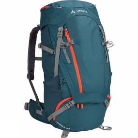 Vaude From hut to hut: the Womens Asymmetric 48+8 Rucksack from Vaude has been designed for alpine multi-day hikes, pilgrimages and backpacking. The body contact back ensures a stable, comfortable fit. The Tergolight suspension system has an integrated frame which ensures an excellent load transfer and good stability.The suspension system, load positioning, and women