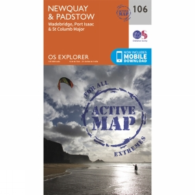 Ordnance Survey Active Explorer Map 106 Newquay and Padstow