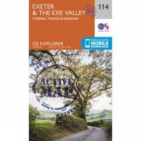 Ordnance Survey Active Explorer Map 114 Exeter and the Exe Valley