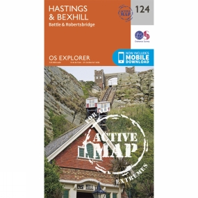 Ordnance Survey Active Explorer Map 124 Hastings and Bexhill