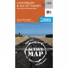 Ordnance Survey Active Explorer Map 150 Canterbury and the Isle of Thanet