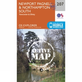 Ordnance Survey Active Explorer Map 207 Newport Pagnell and Northampton South