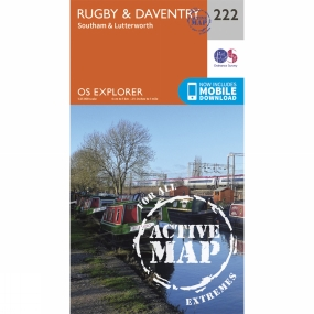 Ordnance Survey Active Explorer Map 222 Rugby and Daventry