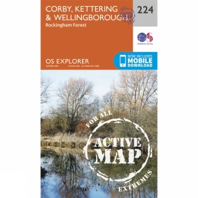 Ordnance Survey Active Explorer Map 224 Corby, Kettering and Wellingborough