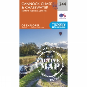 Ordnance Survey Active Explorer Map 244 Cannock Chase and Chasewater