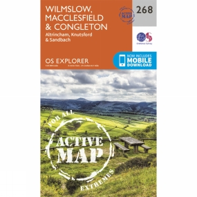 Ordnance Survey Active Explorer Map 268 Wilmslow, Macclesfield and Congleton