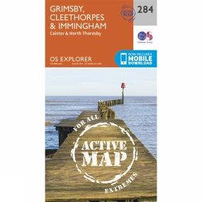 Ordnance Survey Active Explorer Map 284 Grimsby, Cleethorpes and Immingham