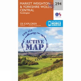 Ordnance Survey Active Explorer Map 294 Market Weighton and Yorkshire Wolds Central