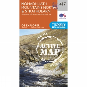Ordnance Survey Active Explorer Map 417 Monadhliath Mountains North and Strathdearn