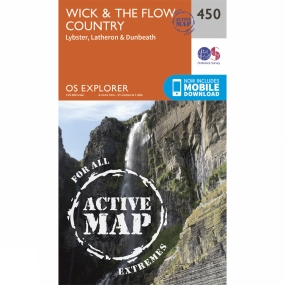 Ordnance Survey Active Explorer Map 450 Wick and The Flow Country