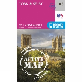 Ordnance Survey Active Landranger Map 105 York and Selby