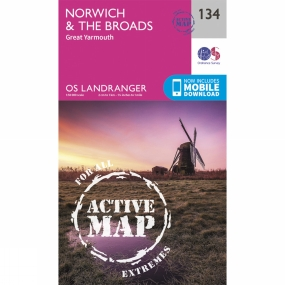 Active Landranger Map 134 Norwich and The Broads