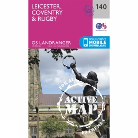 Ordnance Survey Active Landranger Map 140 Leicester, Coventry and Rugby