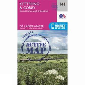 Ordnance Survey Active Landranger Map 141 Kettering and Corby