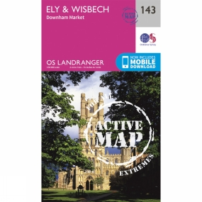 Ordnance Survey Active Landranger Map 143 Ely and Wisbech