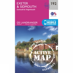 Ordnance Survey Active Landranger Map 192 Exeter and Sidmouth