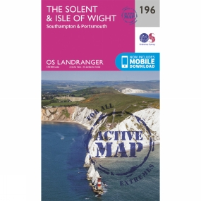 Ordnance Survey Active Landranger Map 196 The Solent and Isle of Wight