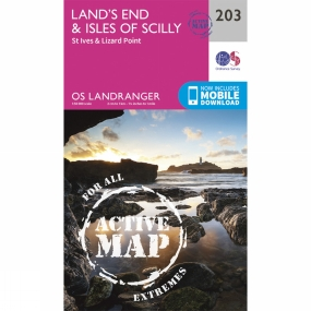 Ordnance Survey Active Landranger Map 203 Land's End and Isles of Scilly
