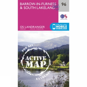 Ordnance Survey Active Landranger Map 96 Barrow-in-Furness and South Lakeland