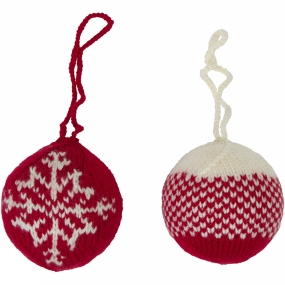 Ayacucho Ayacucho Christmas Baubles 2 Pack Red Baubles - Gradient/Snowflake