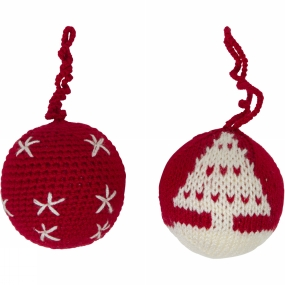 Ayacucho Ayacucho Christmas Baubles 2 Pack Red Baubles - Little Stars/Christmas Tree