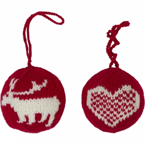 Ayacucho Ayacucho Christmas Baubles 2 Pack Red Baubles - Deer/Heart