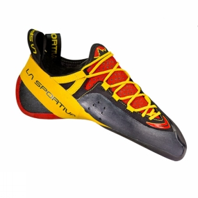 La Sportiva The Mens Genius Climbing Shoe from La Sportiva present the tip of the spear: a high-end lace-up climbing shoe with No-Edge and P3 Technology. The No-Edge technology delievers unparalleled edging performance on the rock, while the P3 patented technology delivers mind bending power.
