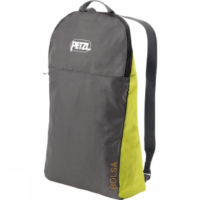 Petzl The Bolsa Rope Bag  is designed for climbing: worn on the back, it allows the user to move around quickly with his gear. Unfolded, the 1.4-metre square tarp creates a place for the rope, while protecting it from dirt, leaves and gravel. After climbing, the rope is easily stacked and stored. the bag comfortably carrys a rope of up to 80 metres in length, plus climbing gear.